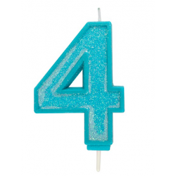 Candle blue sparkle number 4