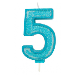 Candle blue sparkle number 5