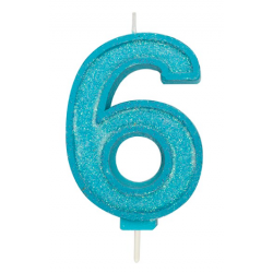 Candle blue sparkle number 6