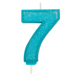 Candle blue sparkle number 7