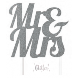 Topper Mr & Mrs silver glitter