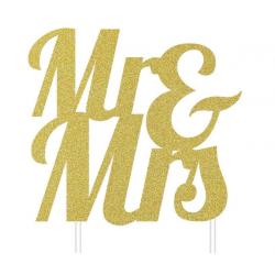 Topper Mr & Mrs golden glitter